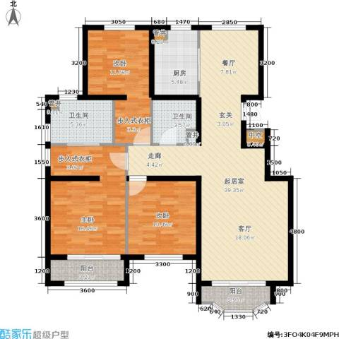 通泰·香滨城3室0厅2卫1厨133.00㎡户型图