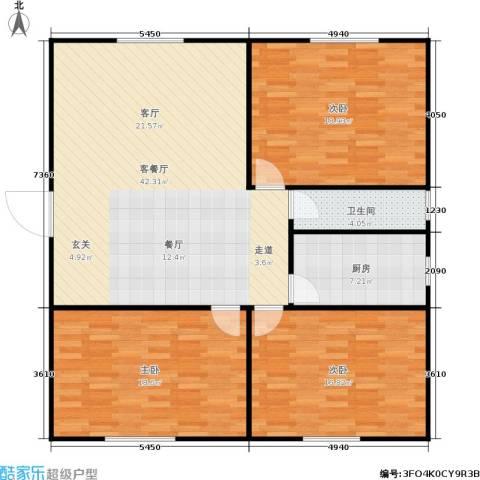 丹桂公寓3室1厅1卫1厨114.00㎡户型图