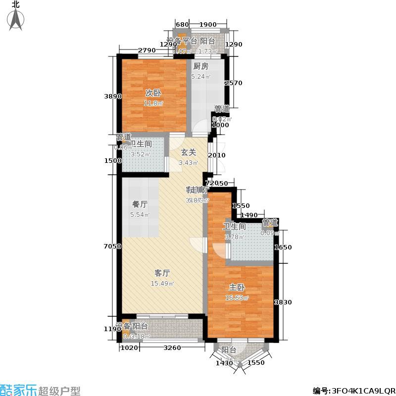 世纪东方城105.92㎡7号楼D(2居)面积10592m户型