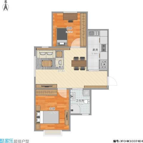 晓月景园2.3-12室1厅1卫1厨61.00㎡户型图