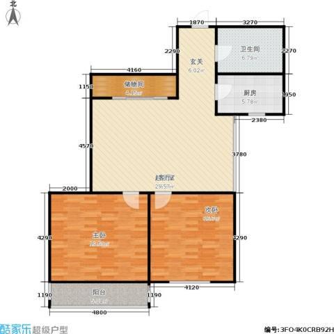 水星阁2室0厅1卫1厨100.00㎡户型图