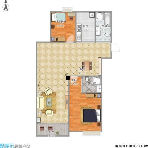 四明家园2室1厅2卫1厨125.00㎡户型图