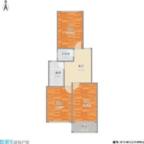 老菜市3室1厅1卫1厨80.00㎡户型图