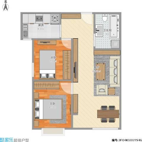 晓月景园2室1厅1卫1厨62.00㎡户型图