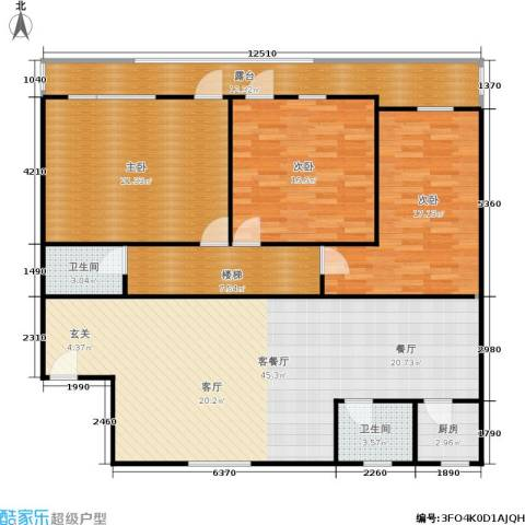 竹竿巷社区3室1厅2卫1厨139.00㎡户型图