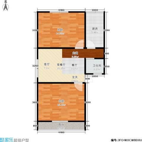 德胜新村南2室1厅1卫1厨60.00㎡户型图