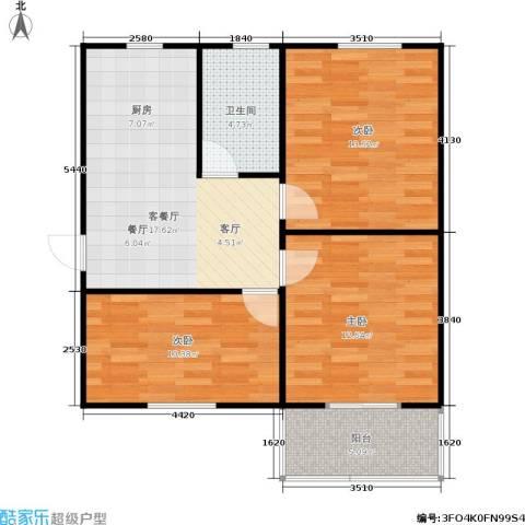 采荷一区3室1厅1卫0厨69.00㎡户型图