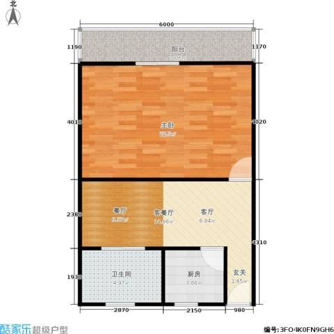 采荷一区1室1厅1卫1厨57.00㎡户型图