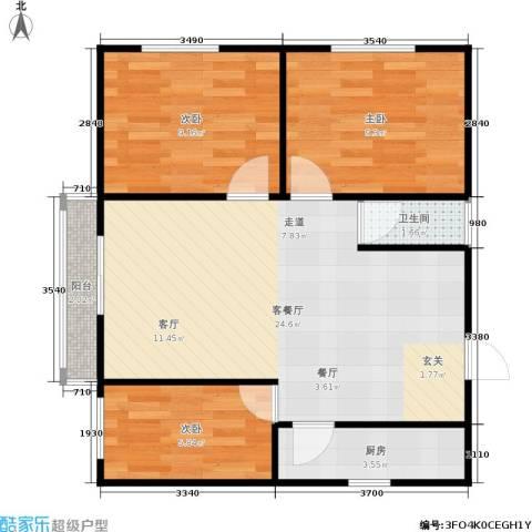 东新园雪峰苑3室1厅1卫1厨61.00㎡户型图