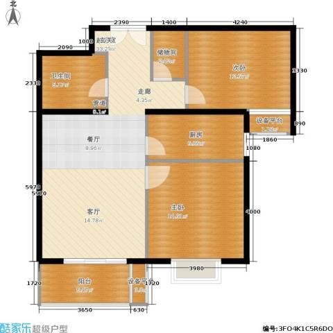 东恒时代一期2室0厅1卫1厨90.00㎡户型图
