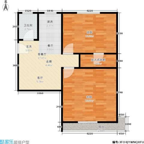 采荷芙蓉2室1厅1卫0厨59.00㎡户型图