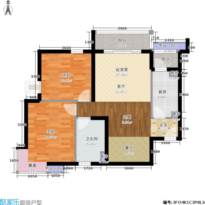 鸿业兴园103.58㎡09号楼B42面积10358m户型