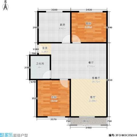 邮政职工公寓2室1厅1卫1厨70.00㎡户型图