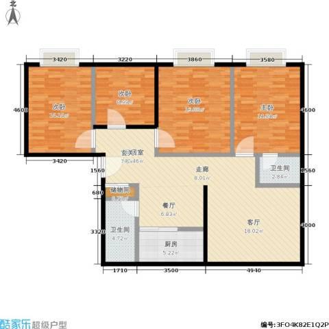 百花明珠4室0厅2卫1厨142.00㎡户型图