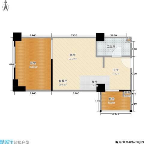 环球时代1厅1卫1厨53.00㎡户型图