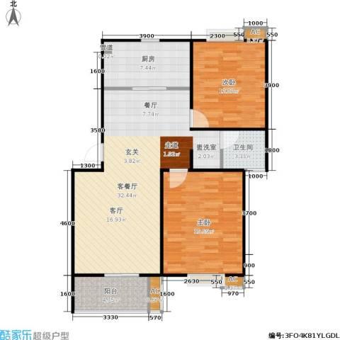 华侨绿洲2室1厅1卫1厨81.00㎡户型图
