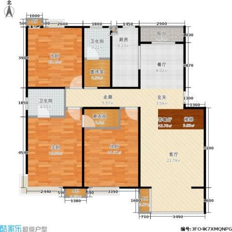 华侨绿洲3室1厅2卫1厨109.58㎡户型图