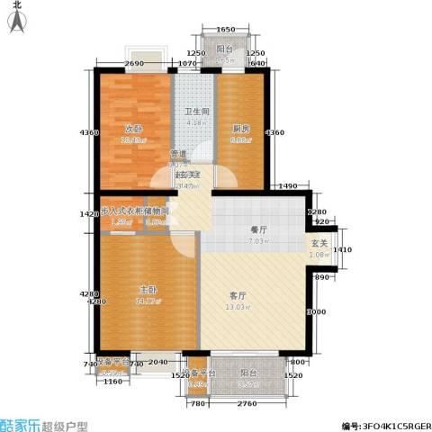 东恒时代一期2室0厅1卫1厨96.00㎡户型图