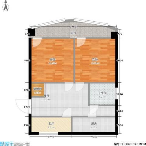 采荷青荷苑2室2厅1卫1厨76.00㎡户型图