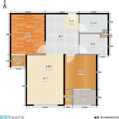 三田雍泓·青海城2室1厅1卫1厨85.00㎡户型图
