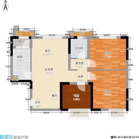 蓝光星华·海悦城3室0厅1卫1厨84.00㎡户型图