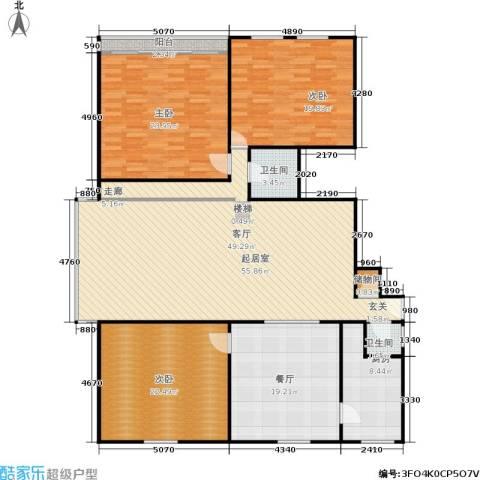 凤起苑3室1厅2卫1厨168.00㎡户型图