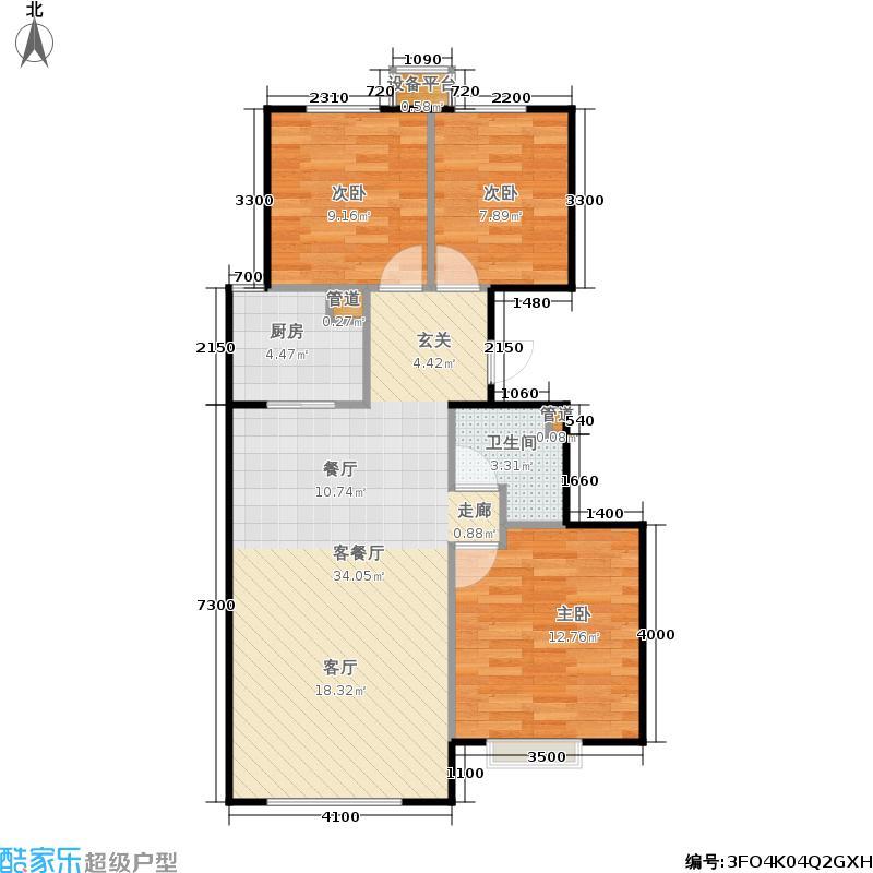 合景映月台97.00㎡一期2#楼2-4单元A3室户型