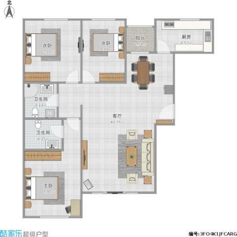 富燕新村3室1厅2卫1厨130.00㎡户型图