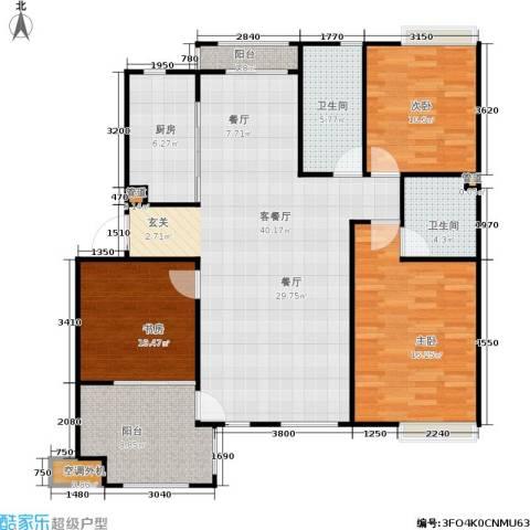 星星港湾J组团3室1厅2卫1厨122.00㎡户型图