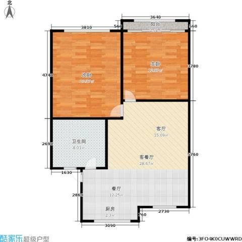 三里新城兰苑2室1厅1卫0厨72.00㎡户型图