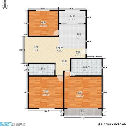 三里新城兰苑3室1厅2卫1厨95.00㎡户型图