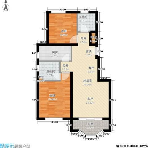 通泰·香滨城2室0厅2卫1厨88.00㎡户型图