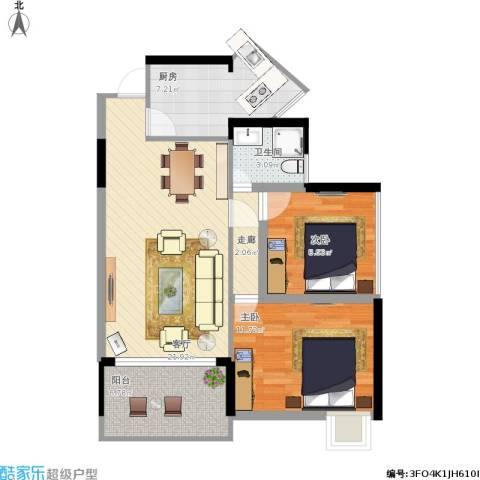 海德格调2室1厅1卫1厨87.00㎡户型图