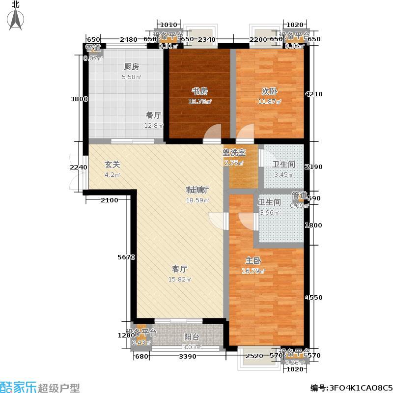 世纪东方城137.65㎡4号楼D1(3居)面积13765m户型