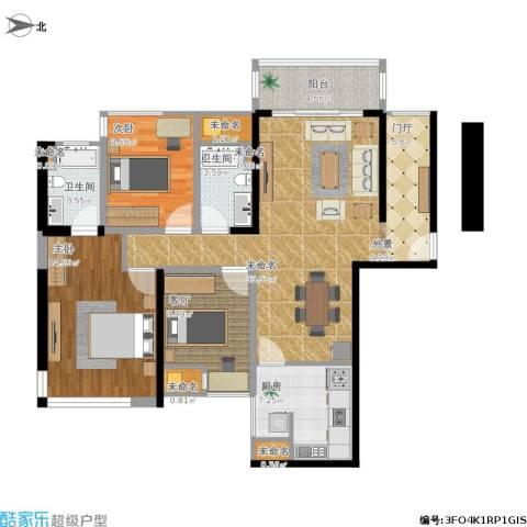 博众新城二期2室1厅2卫1厨124.00㎡户型图