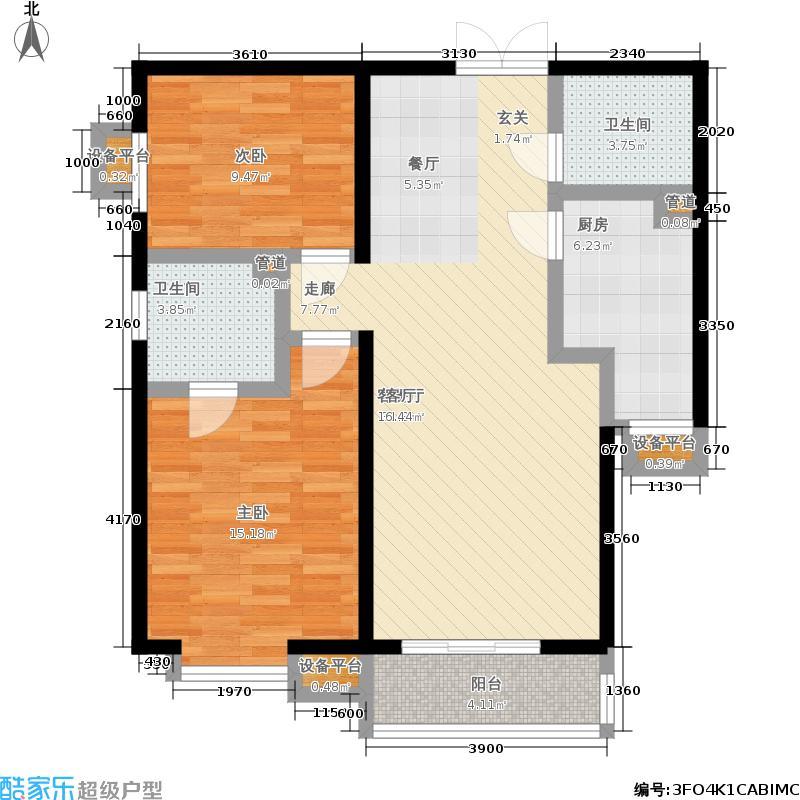 世纪东方城102.99㎡10号楼B(2居)面积10299m户型