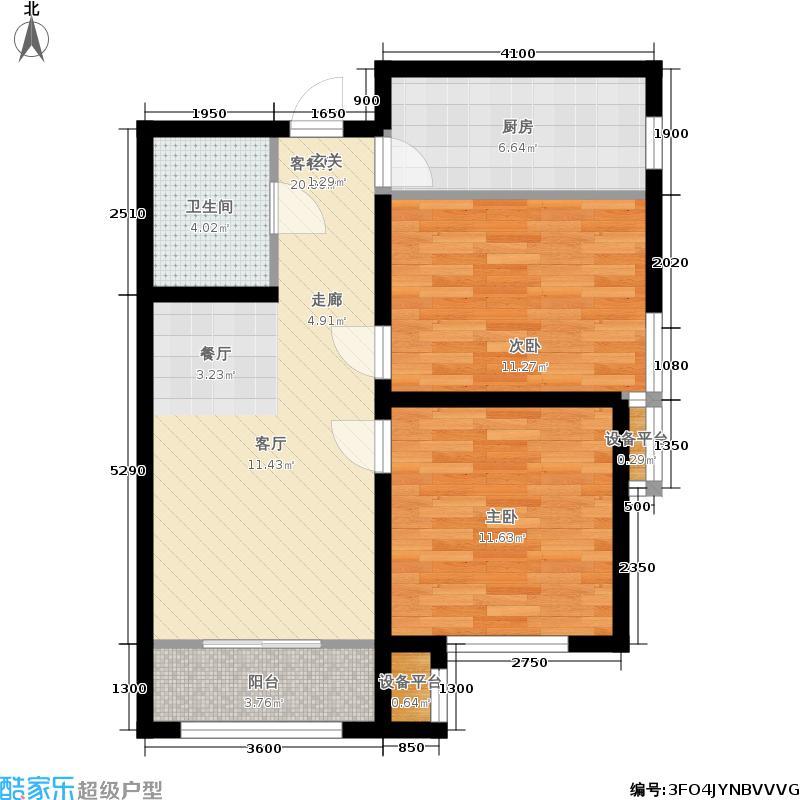 中国铁建国际城89.00㎡二期高层5号楼标准层D2户型
