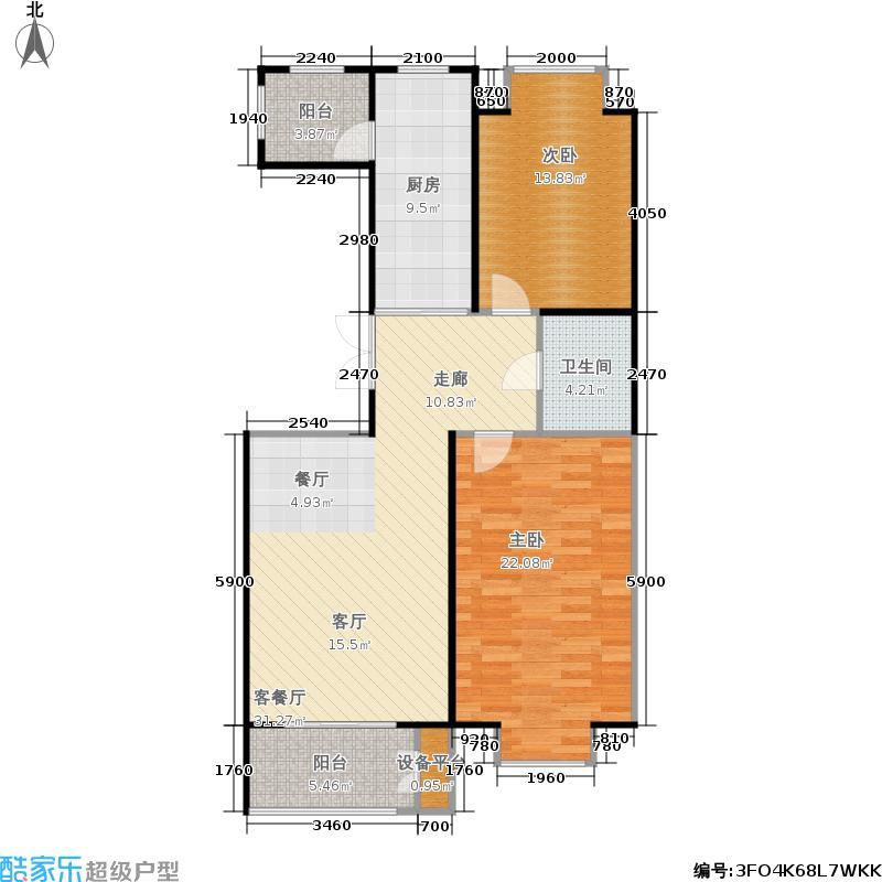 世界名园97.78㎡世界名园户型图D户型两室两厅一卫(2/25张)户型2室2厅1卫