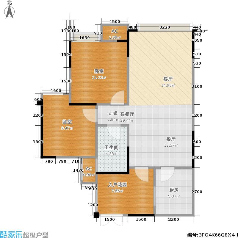 领馆国际城82.78㎡B1户型两室两厅一卫实得面积90.02平米户型2室2厅1卫