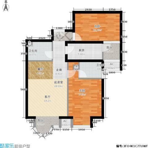 上京新航线2室0厅2卫1厨98.00㎡户型图
