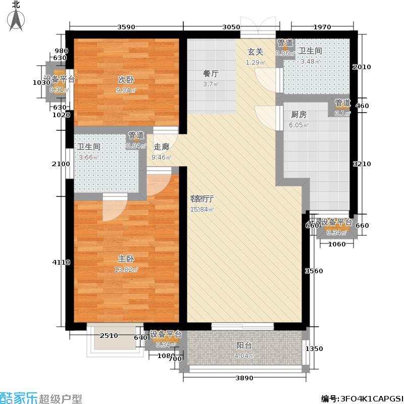 世纪东方城110.14㎡11号楼B(2居)面积11014m户型