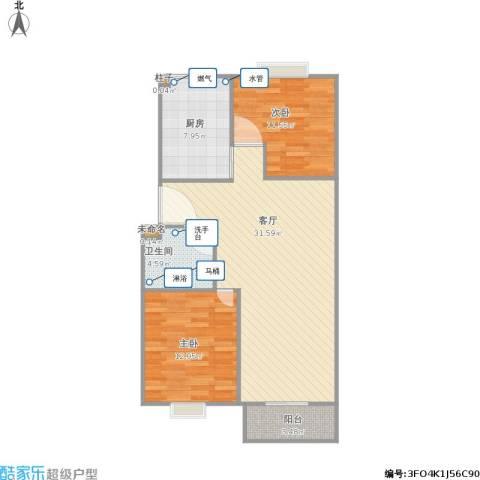 天顺园小区2室1厅1卫1厨95.00㎡户型图