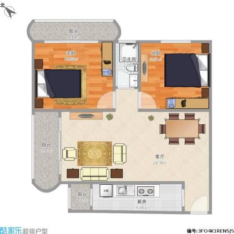 天龙花园2室1厅1卫1厨82.00㎡户型图