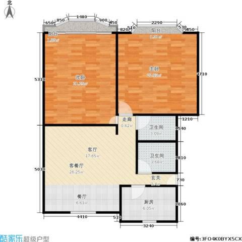 施家桥2室1厅2卫1厨90.00㎡户型图