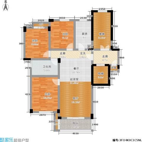 多蓝水岸银沙苑3室0厅1卫1厨117.00㎡户型图