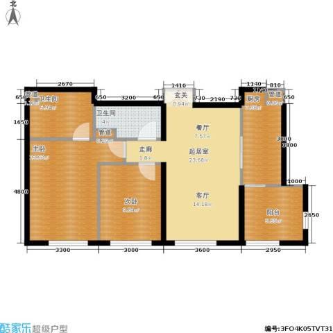 天润・香墅湾1号2室0厅2卫1厨100.00㎡户型图