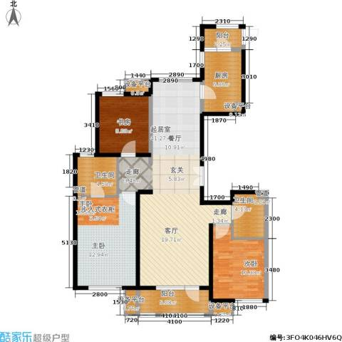首开璞瑅3室0厅2卫1厨142.00㎡户型图