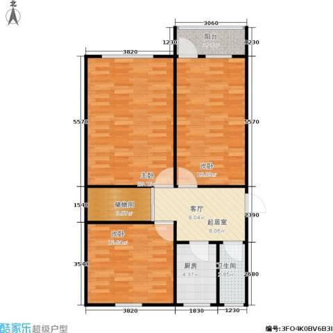 双眼井巷3室0厅1卫1厨77.00㎡户型图