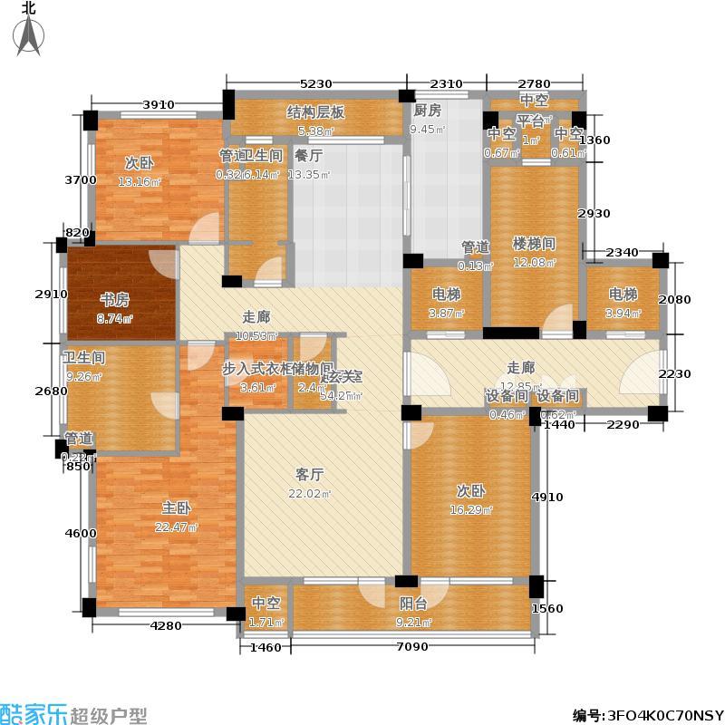 紫兰公寓186.00㎡7号楼J面积18600m户型