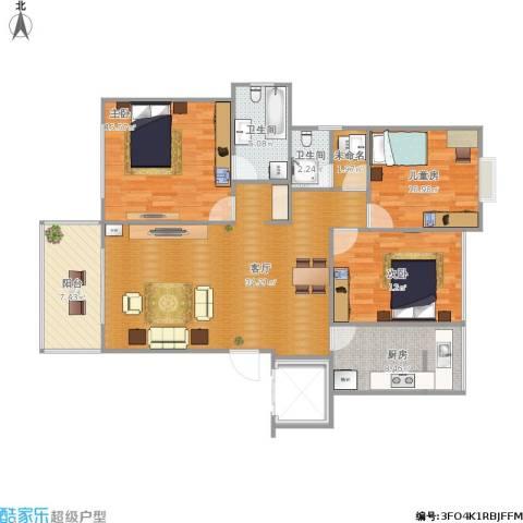 辰兴天御3室1厅2卫1厨132.00㎡户型图